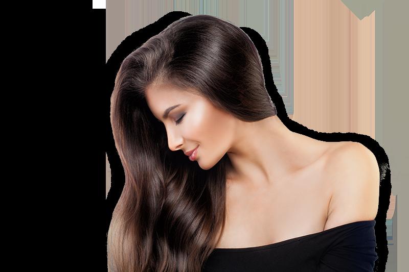 woman with sleek long brown hair
